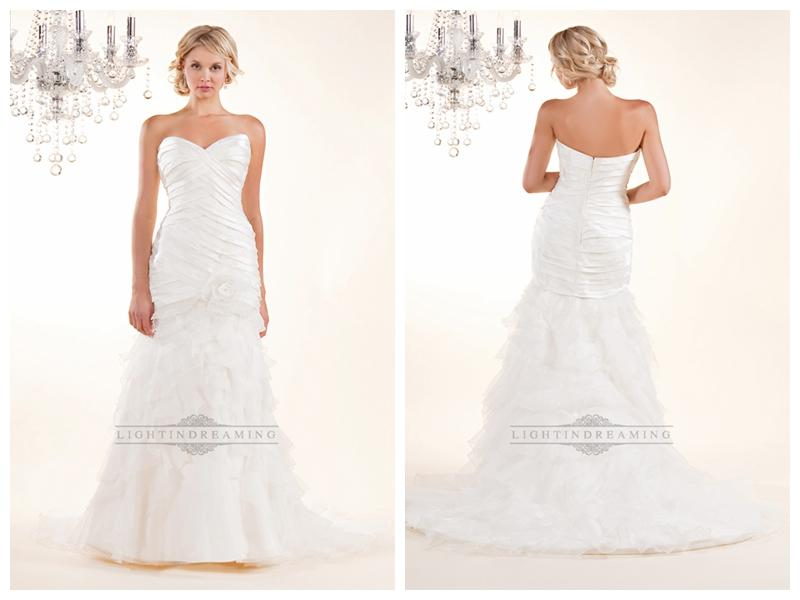Wedding - Strapless Sweetheart Wedding Dresses with Pleated Bodice and Layered Skirt