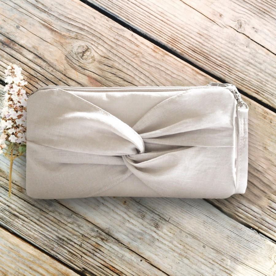 Mariage - Ivory Linen Knotted Wristlet - Rustic Wedding Clutch - More Colors Available