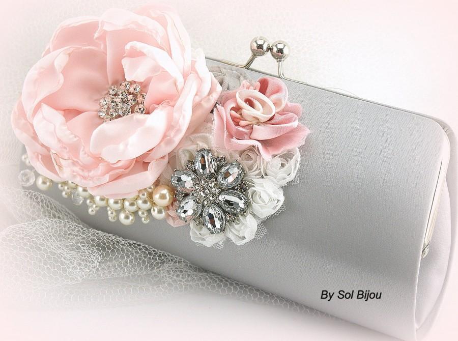 Wedding - Silver Clutch, Gray, Pink, White, Bridal, Handbag, Bag, Purse, Mother of the Bride, Satin, Pearls, Crystals, Brooch, Elegant Wedding