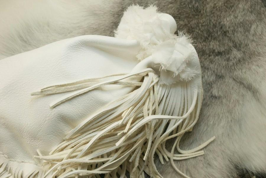 Mariage - Drawstring leather and lace wedding pouch