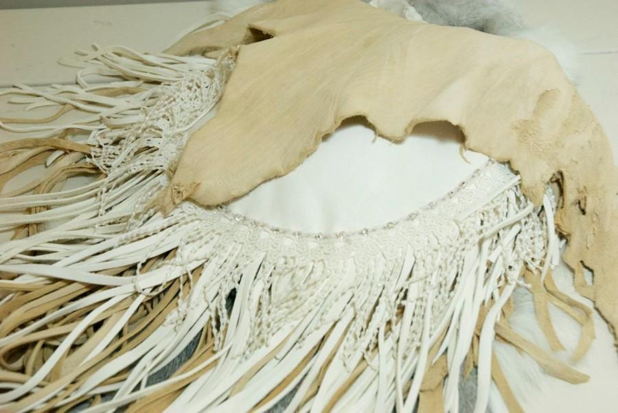 Mariage - Leather and Lace Fringed Wedding purse - fringed handbag - white wedding purse