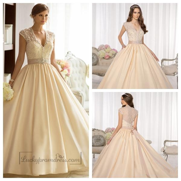 Elegant Cap Sleeves V Neck Princess Ball Gown Wedding Dresses With Beaded Illusion Jacket