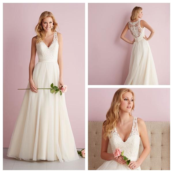 Wedding - Straps A-line V-neck Wedding Dress with Illusion Back