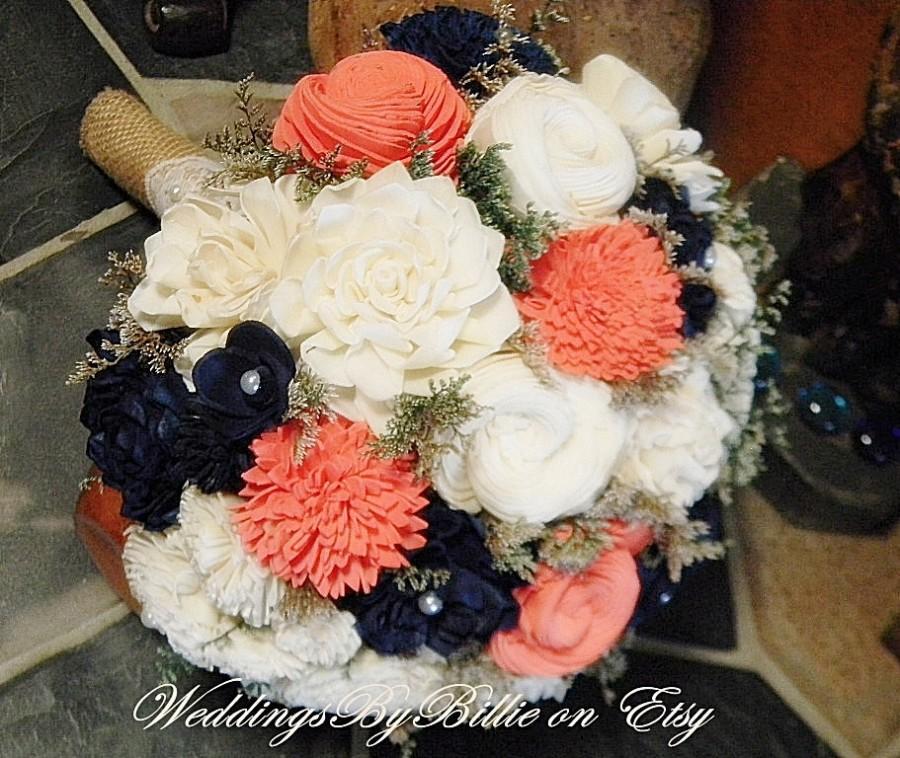 Свадьба - Weddings, Coral Navy Bouquet, Burlap Lace, Sola Bouquet, Alternative Bouquet,Rustic Shabby Chic,Bridal Accessories, Keepsake Bouquet, Sola