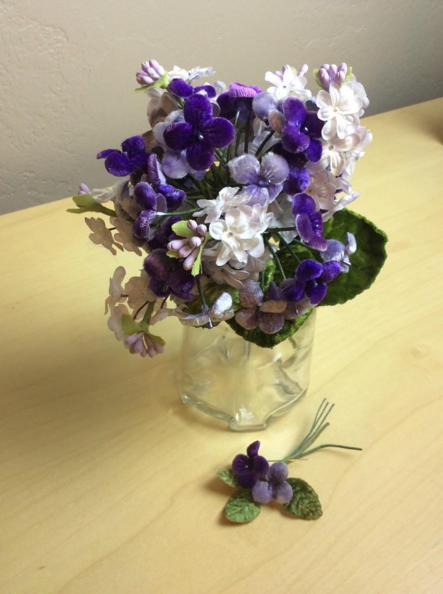 Hochzeit - Vintage velvet violet bouquet and boutonnierre
