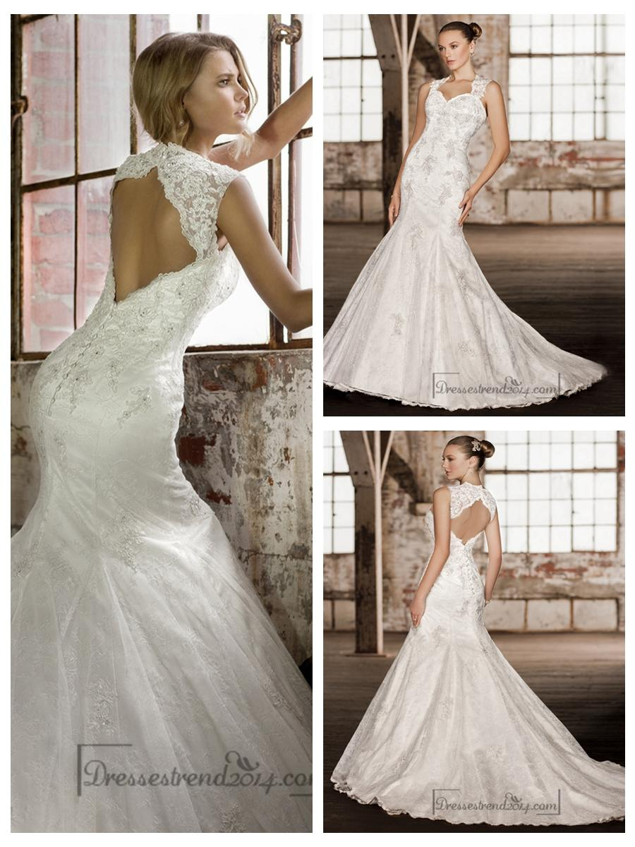 Hochzeit - Stunning Straps Trumpet Lace Wedding Dresses with Keyhole Back