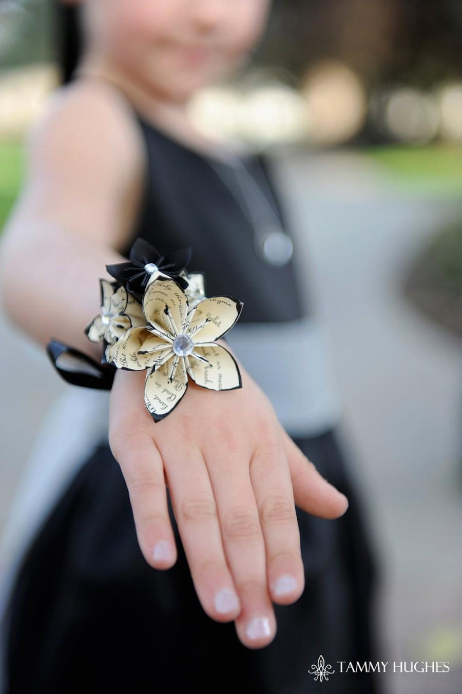 Origami Paper Flower Wrist Wrapped Corsage Handmade Accessory For