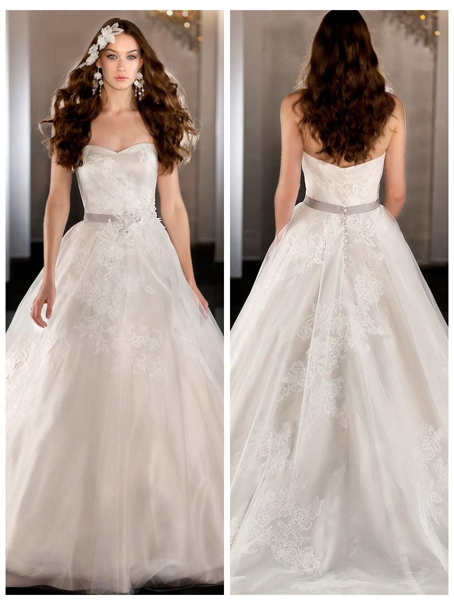 Strapless Tulle Sweetheart Lace Appliques Ball Gown Wedding Dress ...