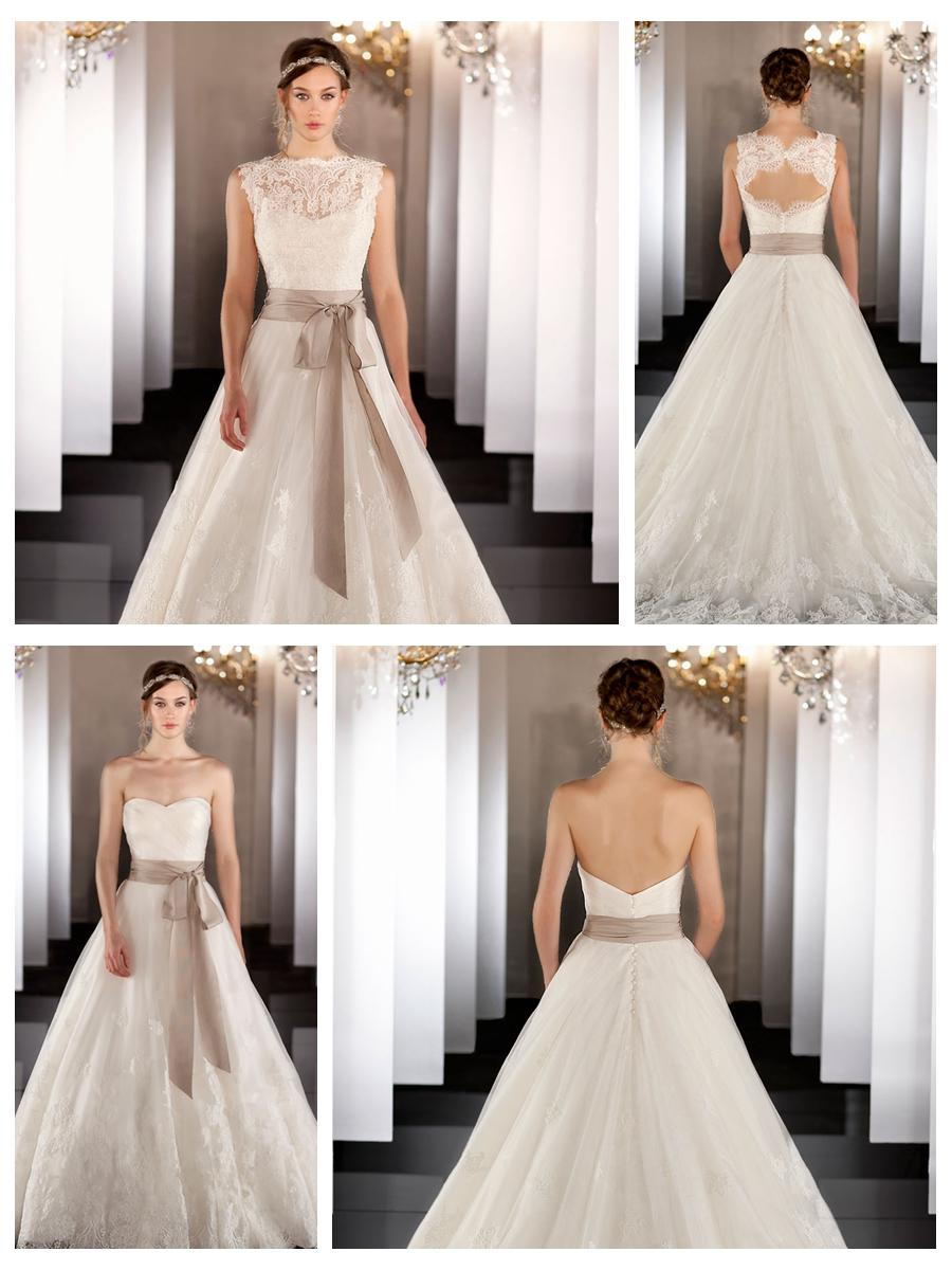 Sweetheart Silk Organza Bridal Ball Gown With Keyhole Back And Scalloped Hem Lace Jacket