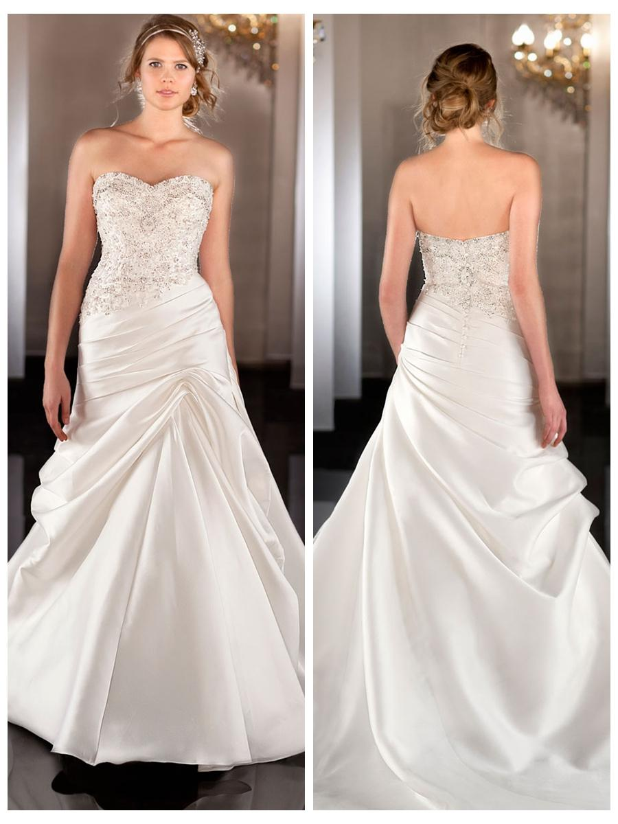 Soft silk sweetheart a line wedding dress with beaded for Sweetheart neckline ruched bodice wedding dress
