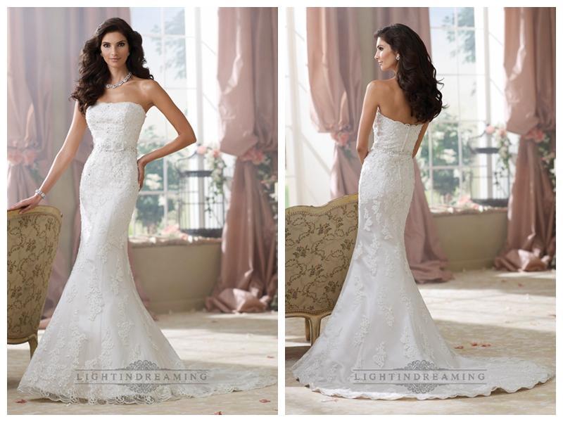 Düğün - Strapless Lace Appliques Mermaid Wedding Dresses