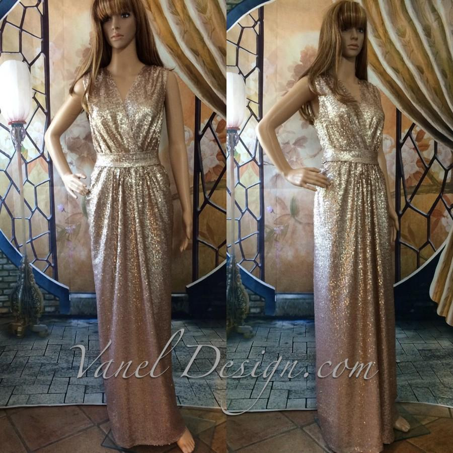 Hochzeit - Bridesmaid dress Long CHAMPAGNE Sequin bridesmaid dress, cocktail dress, formal elegant dress, prom dress, sexy dress