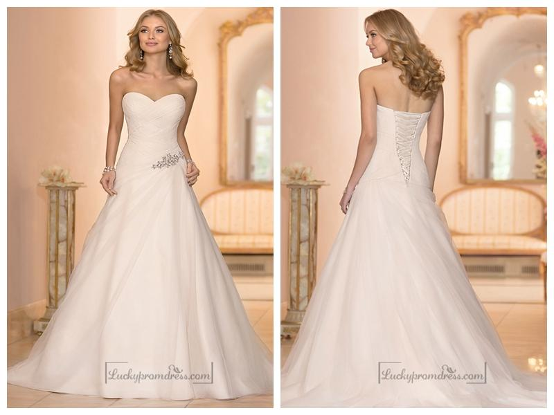 Mariage - Sweetheart Cross Asymmetrical Ruched Bodcie A-line Wedding Dresses