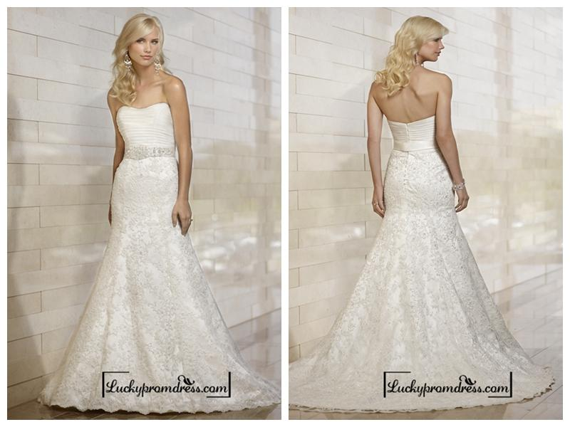 Wedding - Stunning Strapless Mermaid Pleated Bodice Lace Appliques Skirt Wedding Dresses
