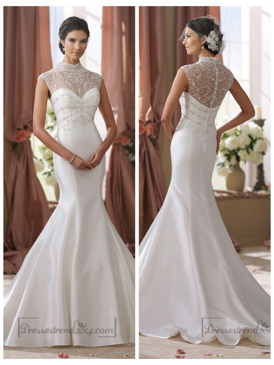 High Beaded Illusion Neckline Mermaid Wedding Dress 2450060 Weddbook