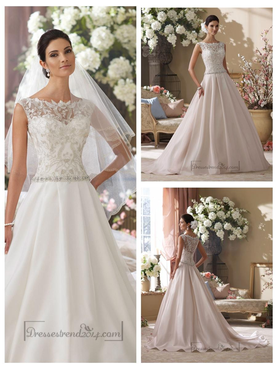 Illusion And Scalloped Lace Bateau Neckline A Line Wedding