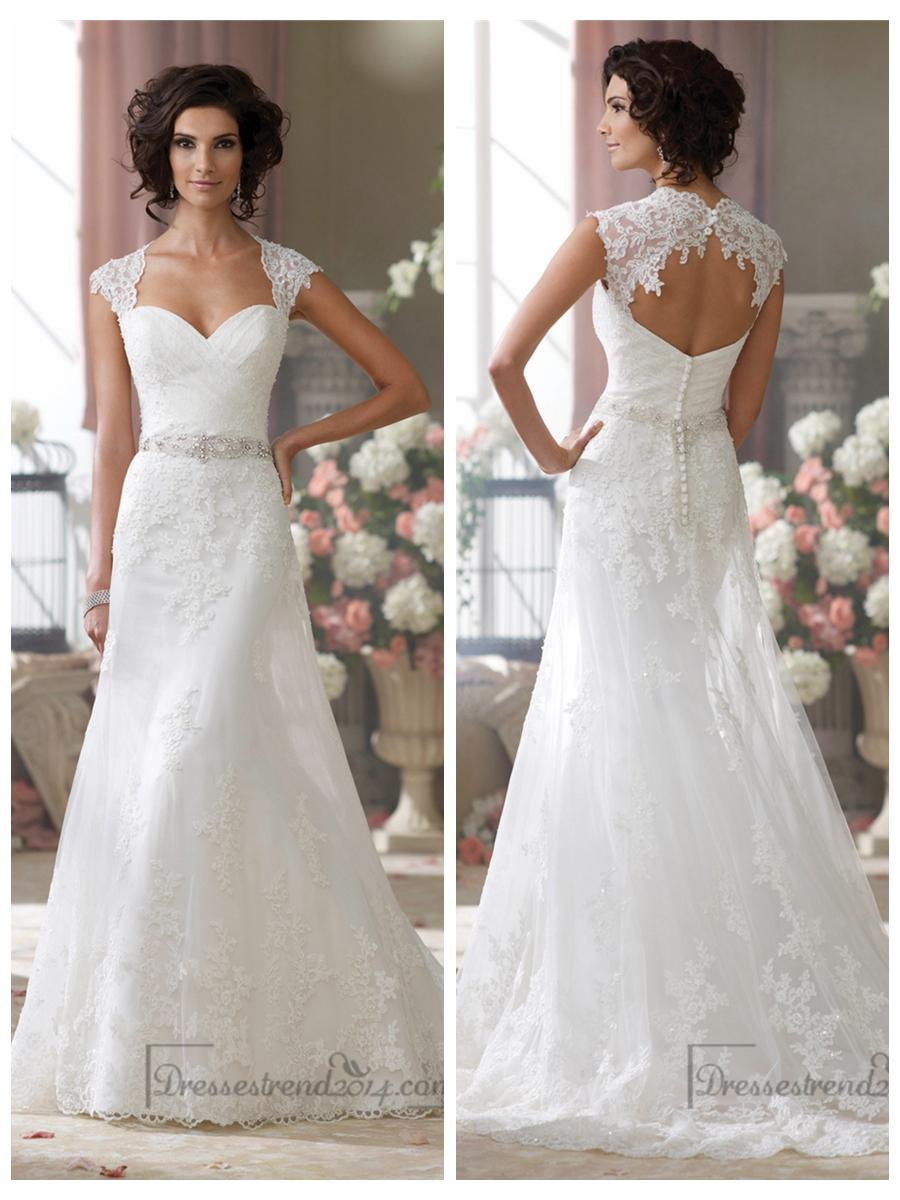 Cap Sleeves Slim A-line Sweetheart Lace Appliques Wedding Dresses ...