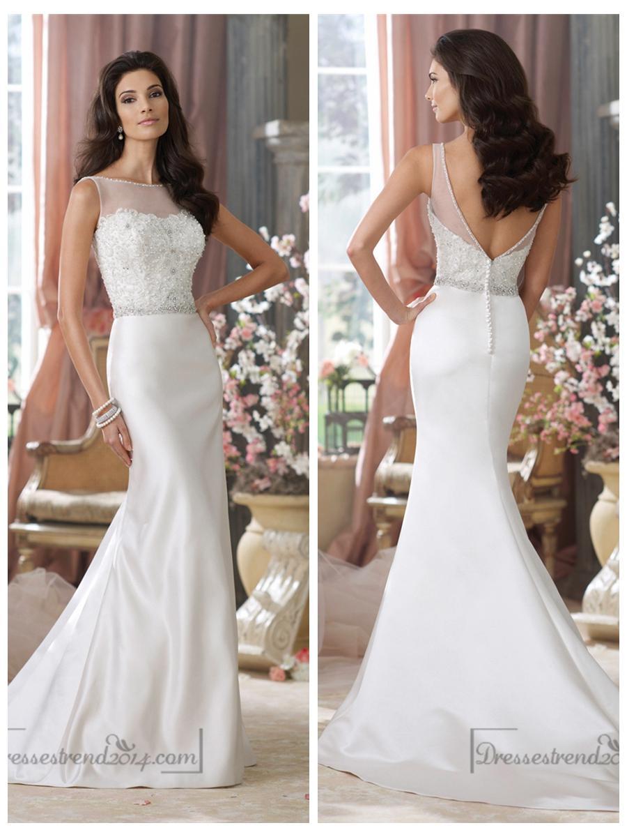 1f90f25b5b406 Illusion Bateau Neckline Embroidered Mermaid Wedding Dresses with Deep V- back