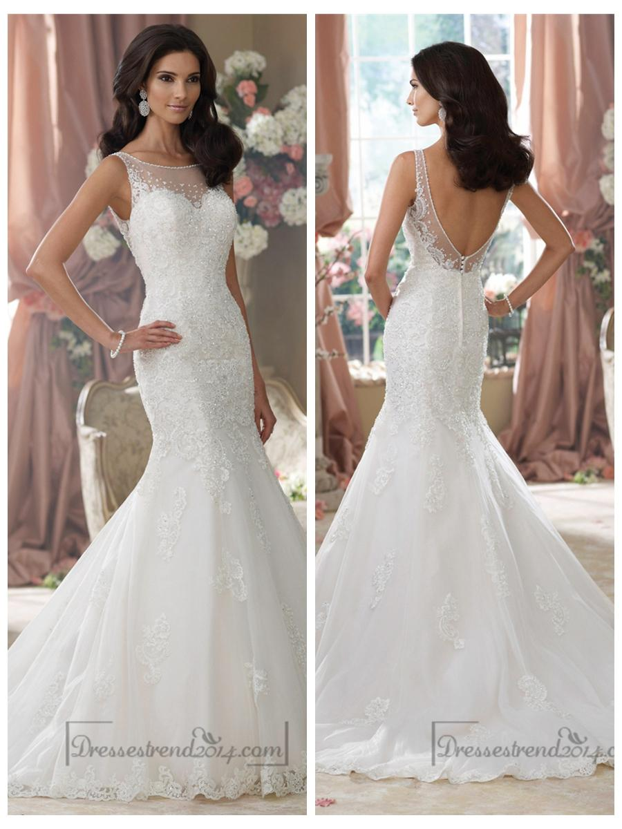 Wedding - Embroidered V-back Mermaid Wedding Dresses Features Illusion Bateau Neckline