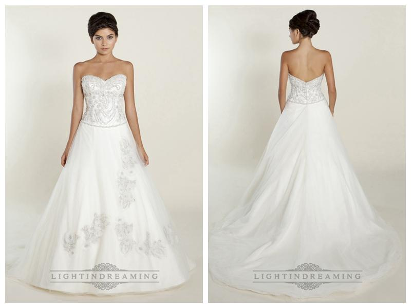 Hochzeit - A-line Sweetheart Wedding Dresses with Beaded Bodice