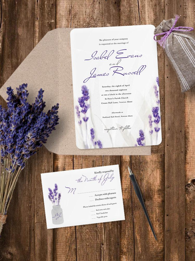 Luxury Pearl Shimmer Lavender Wedding Invitation - Lavender ...