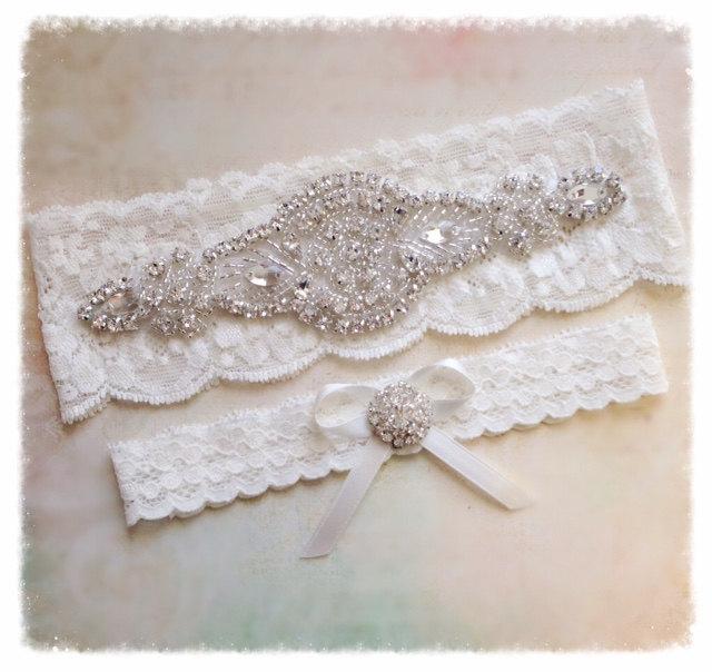 Свадьба - Ivory or white Lace Bridal / Wedding Garter Set with Crystal Rhinestone Embellishments