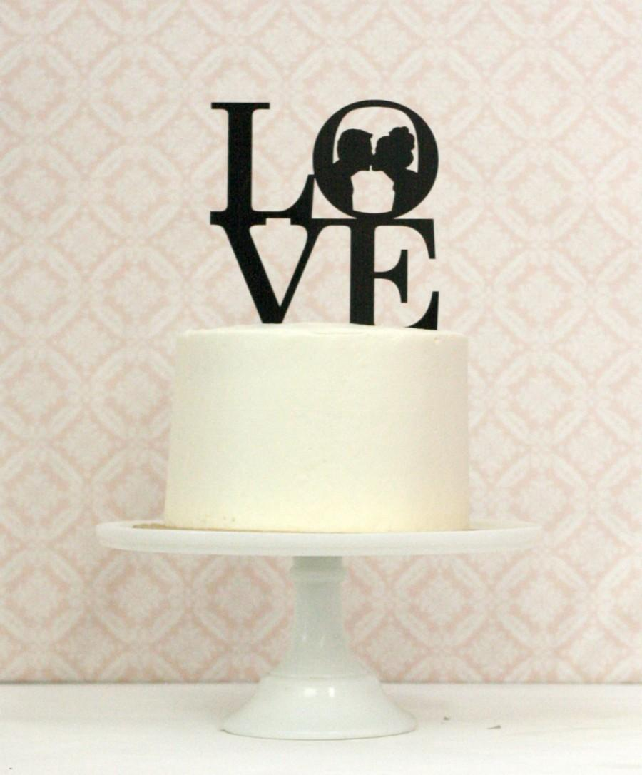 Mariage - Custom LOVE Silhouette Wedding Cake Topper made from your photos by Simply Silhouettes