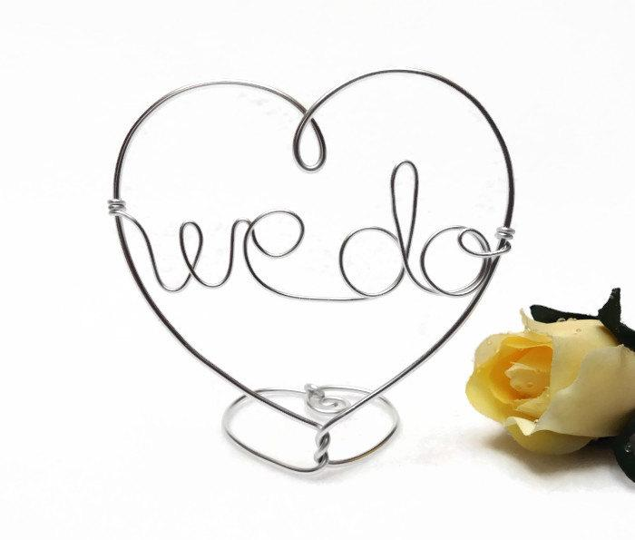 Свадьба - We Do Wire Wedding Cake Topper With Heart - Custom Words -Wire Heart Silver or Gold