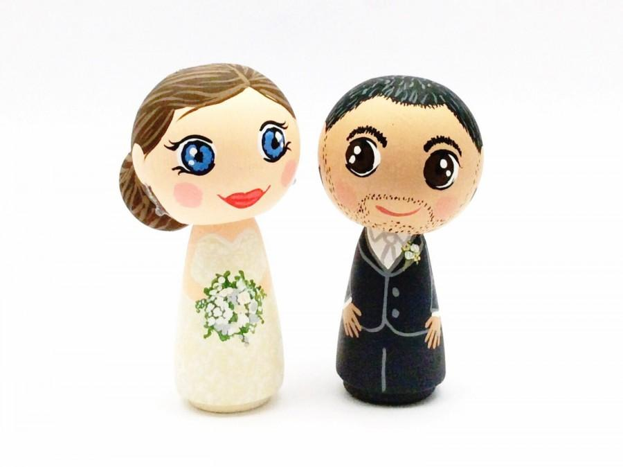 Свадьба - Kokeshi Wedding Cake Topper, Kokeshi Cake Topper, Personalized Wedding Kokeshi Dolls, Funny Cake Topper, Bride and Groom, Wedding Topper