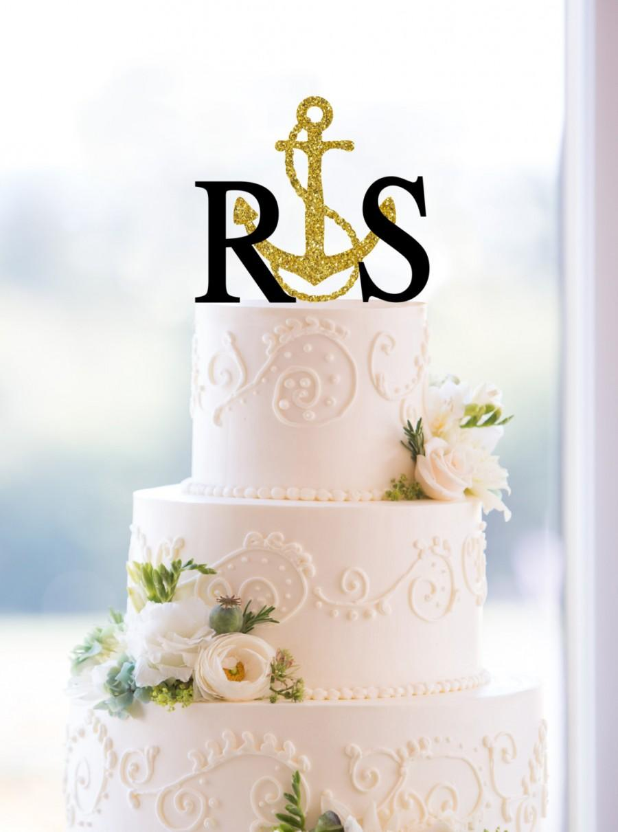 Hochzeit - Monogram Wedding Cake Topper – Custom 2 Initials with Anchor Topper- (S076)