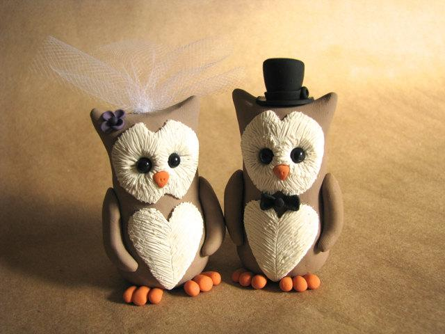 زفاف - Owl Wedding Cake Topper Handmade