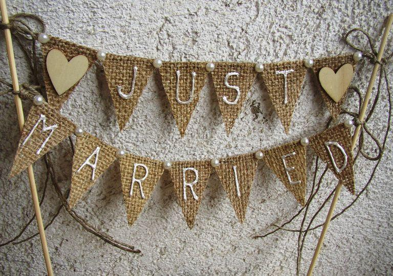 زفاف - Just Married Rustic Cake Topper Banner - Hessian Wedding Bunting - Burlap Cake Topper - Rustic Wedding Decor - Hearts Bunting - Fall Wedding