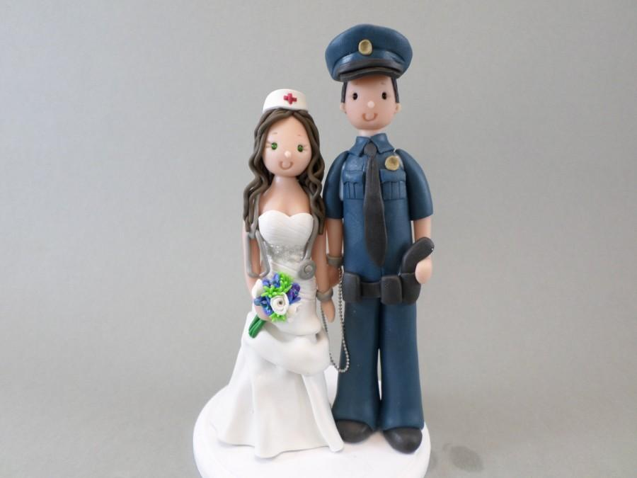 Custom Handmade Police Officer And Nurse Wedding Cake Topper