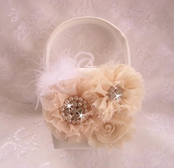 Flower Girl Basket Blush : Blush flower girl basket elegant
