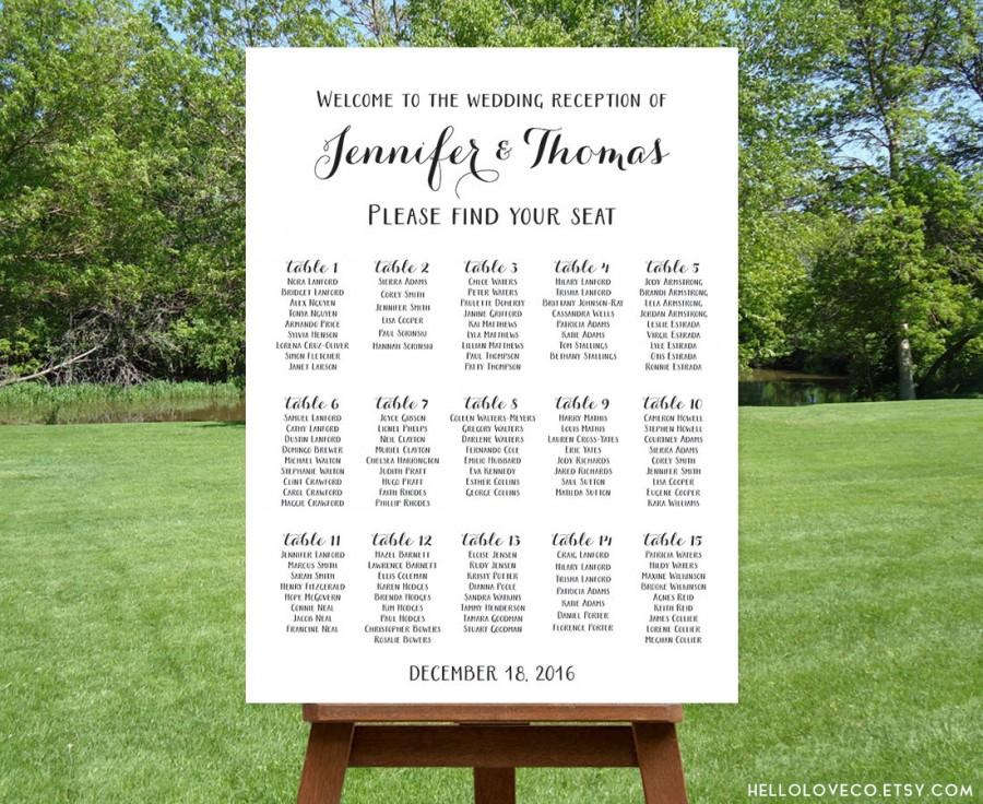 Printable Large Wedding Seating Chart Black White Reception Sign Find Your Seat Personalized Table Digital File