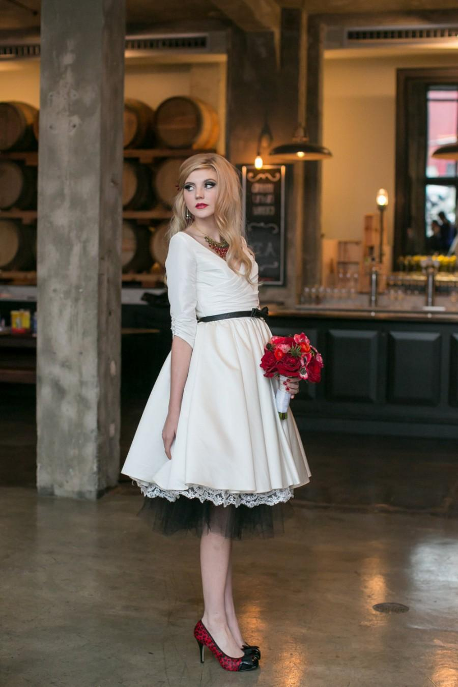 Short Wedding Dress With Sleeves And Pockets - Janie Jones #2450178 ...
