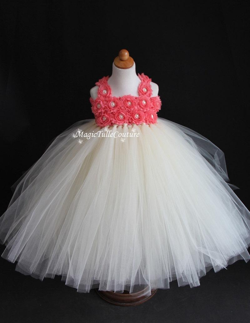 Свадьба - Coral and ivory flower girl tutu dress wedding gown toddler dress 1t2t3t4t5t6t7t8t9t10t
