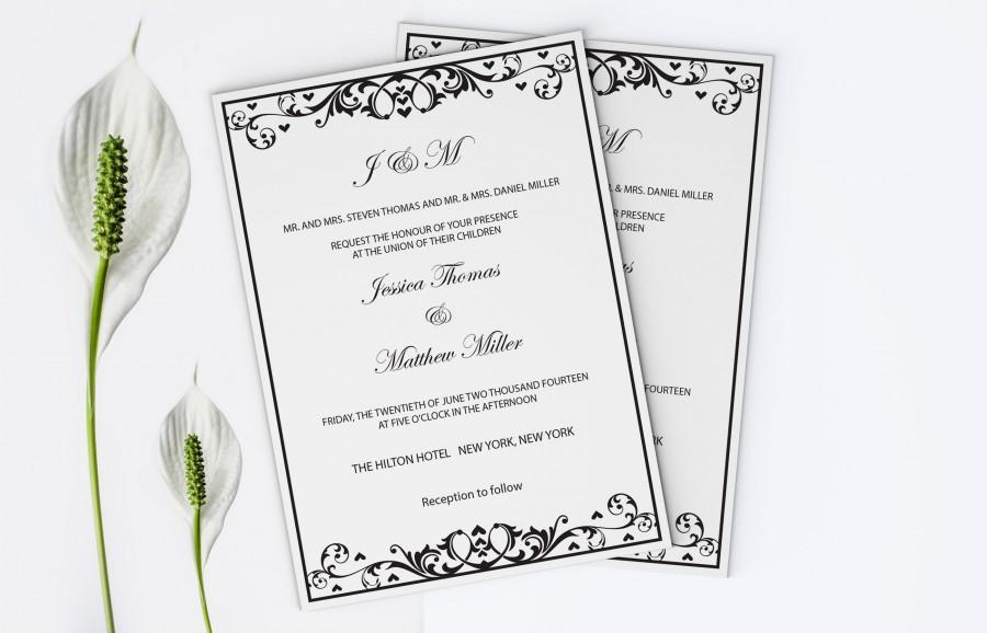 زفاف - Black Flourish & Heart Printable Wedding Invitation Editable PDF Templates