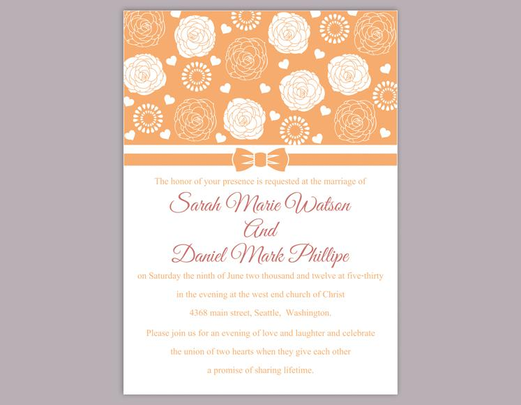 Mariage - DIY Wedding Invitation Template Editable Word File Instant Download Printable Orange Wedding Invitation Flower Rose Wedding Invitation