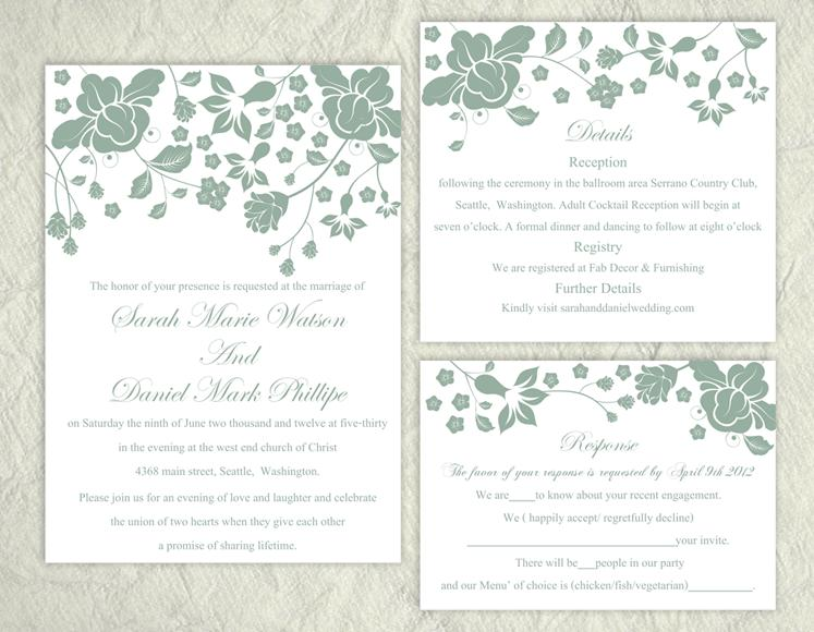 Hochzeit - DIY Wedding Invitation Template Set Editable Word File Instant Download Printable Invitation Green Wedding Invitations Flower Invitation