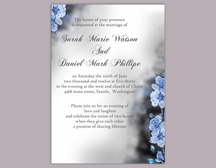 diy wedding invitation template editable word file instant download elegant printable invitation blue invitations flower invitation