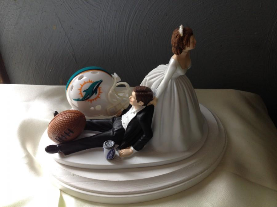 Wedding Cake Topper Bridal Miami Dolphins NFL Funny Football Team Themed With Matching Garter