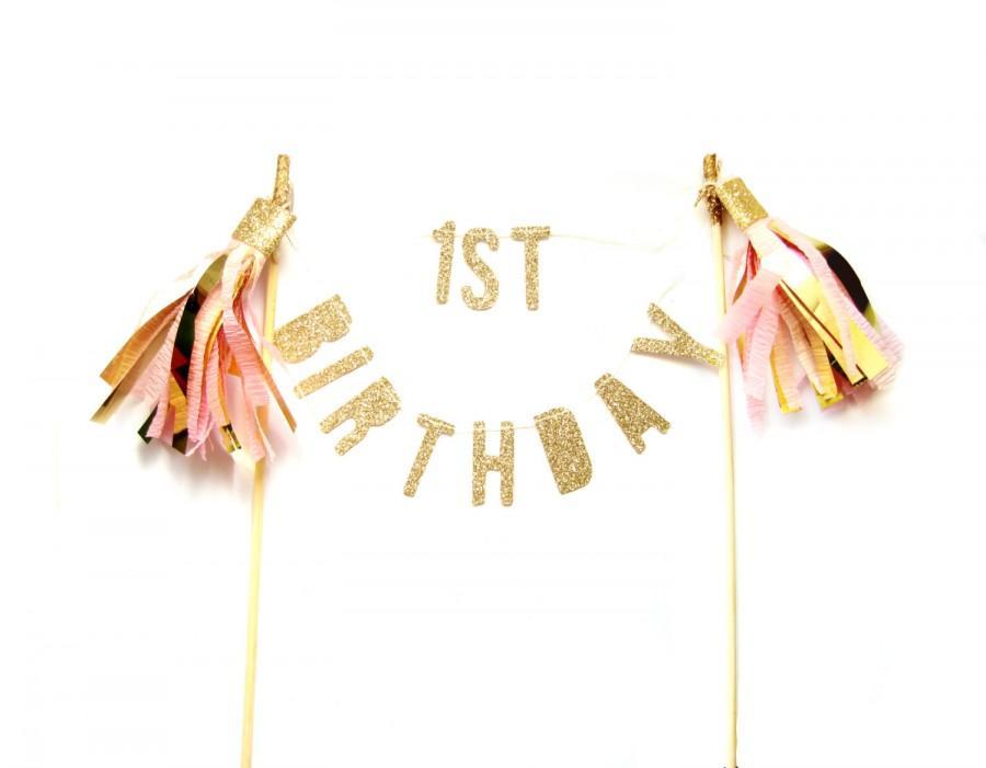 Свадьба - Custom Birthday Gold Glitter & Tassel Cake Topper - Cake Bunting, wedding, engagement, birthday, baby shower, tea party