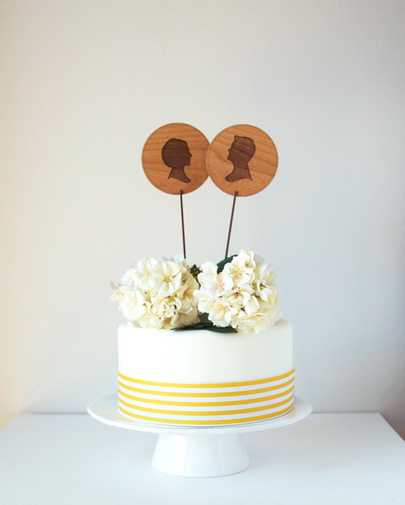 Свадьба - Custom Silhouette Cake Topper make from wood with His and Hers Silhouettes created from your pictures