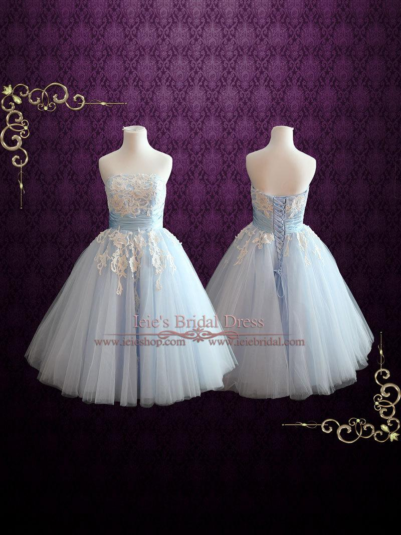 Hochzeit - Ice Blue Retro 50s Tea Length Formal Prom Dress