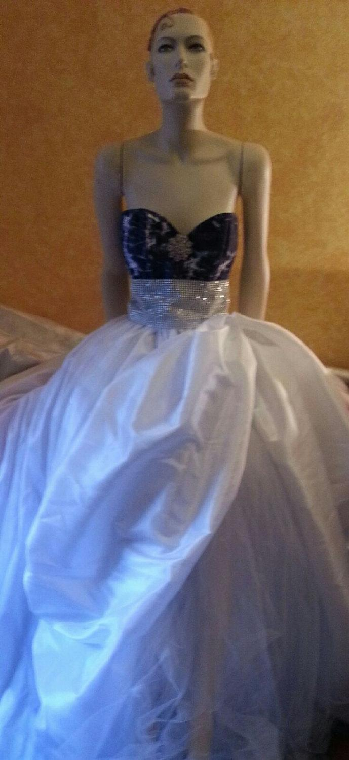 Sample Gown Listing / Denim Diamonds Tie Dye Corset White Taffeta ...
