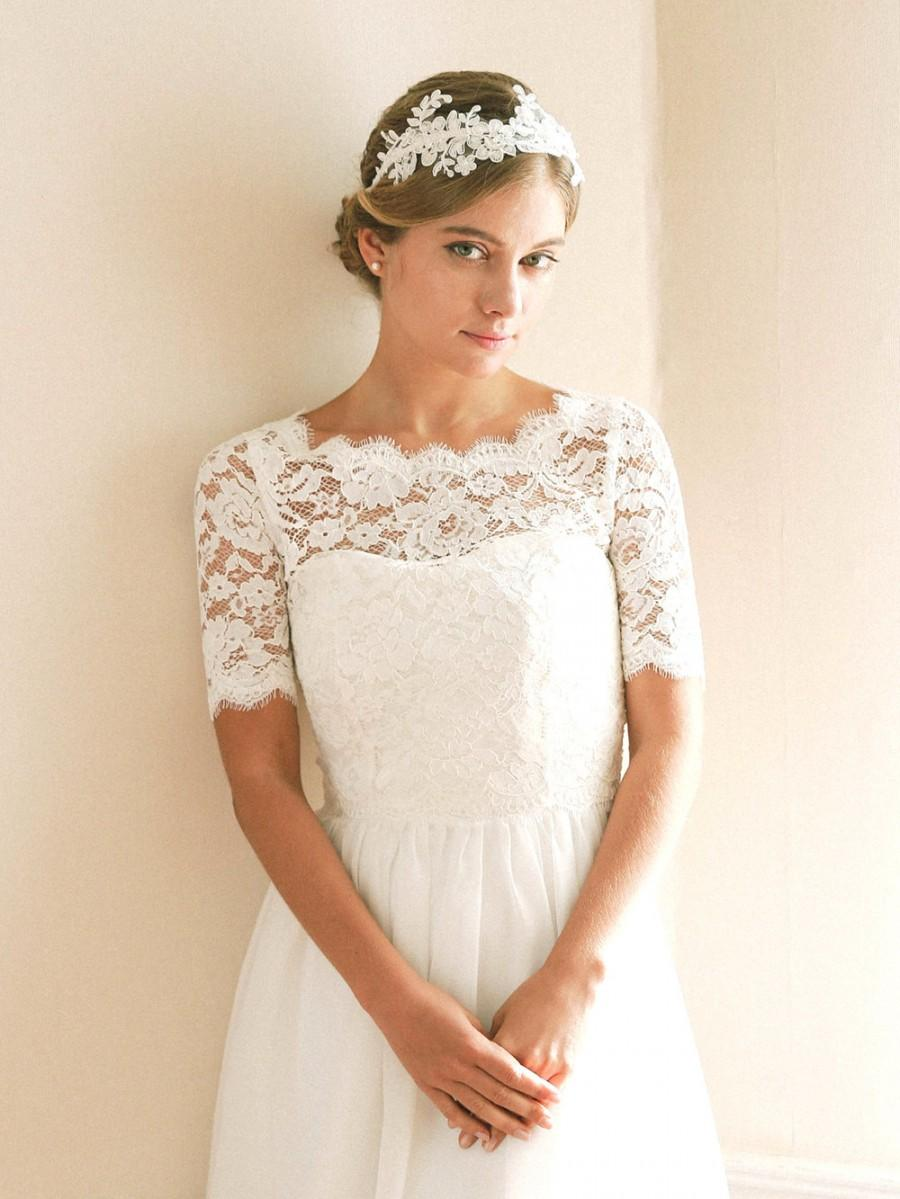 Bridal shrug bridal cover up wedding bolero lace topper for Wedding dress lace bolero