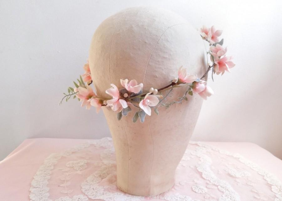 Mariage - bridal hair vine, flower garland, blush pink flower, pink and mint, mint wedding hairpiece, bridal headpiece, flower girl wreath, headband