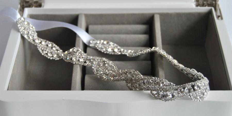 زفاف - Luxury Crystal  Rhinestone Tie on Headband headpiece, Prom Headband, Wedding Headband, ribbon headband, Bridal rhinestone head piece