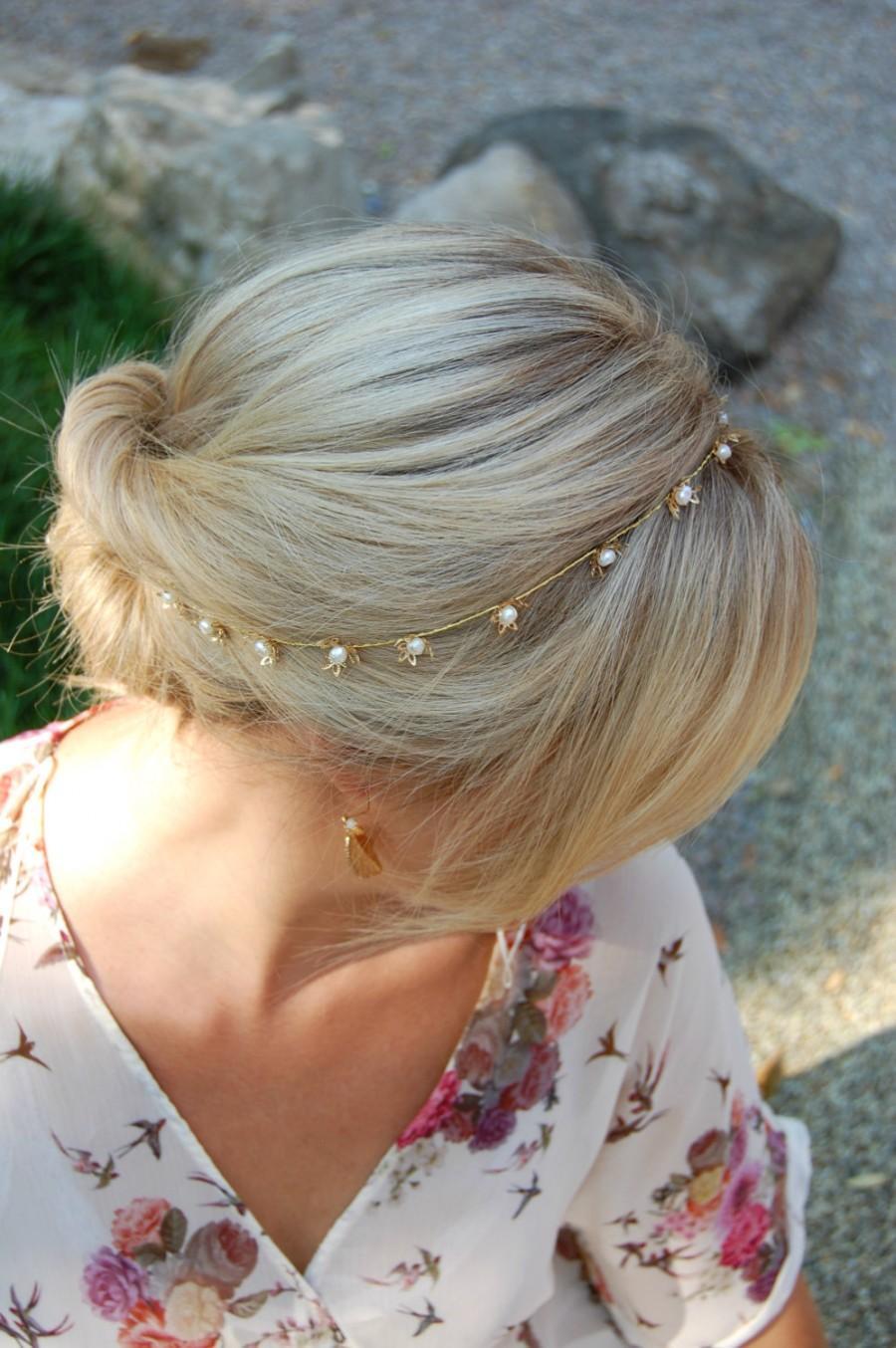 Mariage - pearl,bridal Crown headpiece, pearl tiara, flower crown,Bridal HeadBand, Bridal Halo, Bridal Hair Vine, Tiara, Diadem, Veil Bridal Hairpiece